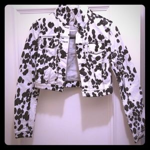 50c7ed19d0f4 Forever 21 Jackets & Coats | Cow Print Cropped Denim Jacket | Poshmark